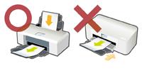 前面給紙型のプリンタは使用しないでください